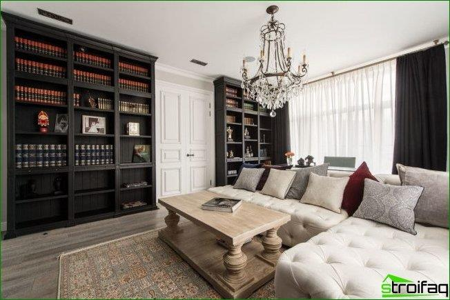 White color in the classic living room ceiling lifts