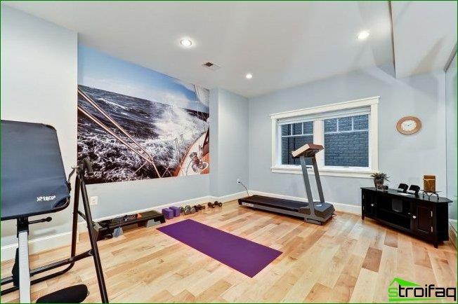 Home gym with photo wallpapers on one of the walls