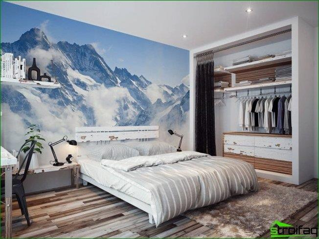 Luxury wallpapers mountains at the head of the bed will be perfect for nature lovers