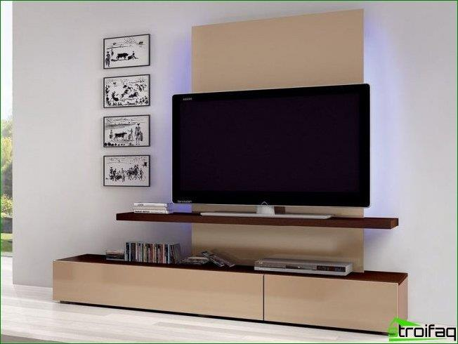 shelf size TV should not be less than the leg. Some designers have deliberately chosen long shelf to store the remote and lovely interior gizmos