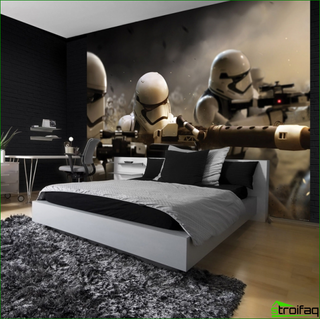 For boys, you can pick up an interesting room mural