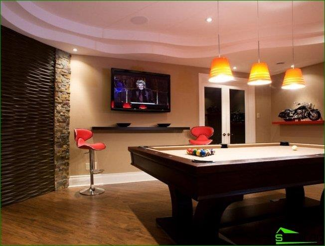 In the billiard room, the TV can be placed under the ceiling - because the audience will almost always be in the upright position