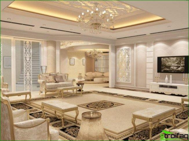 mahardzhey interior in the Arabic style is made incream and sand tones. Mirrored surfaces, lights, gilt furniture and tiles with traditional designs can be complemented with modern technology (plasma, air conditioning, etc.).