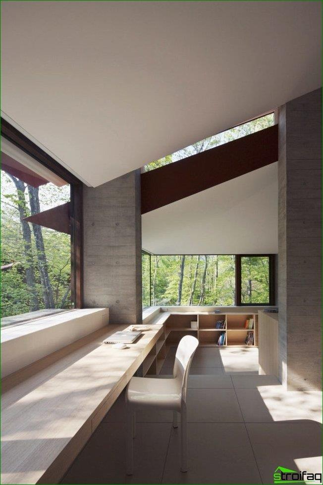 Also, no less spectacular design looks terraces in a private home with the help of the sill-table top