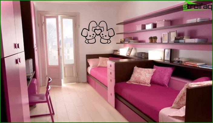 Як зробити інтер'єр кімнати для двох дівчаток 3