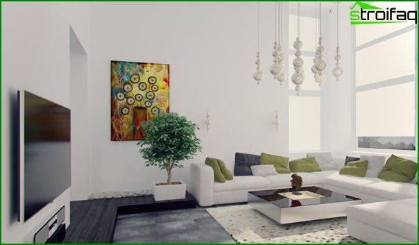 Living room in modern style (minimalist furniture) - 1