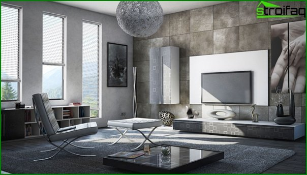 Living room in modern style (minimalist furniture) - 4
