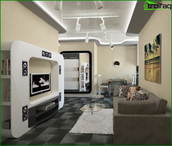 Living room in modern style (high-tech furniture) - 1