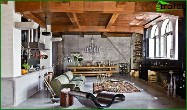 Living room in modern style (furniture loft) - 2