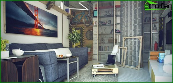 Living room in modern style (furniture loft) - 4