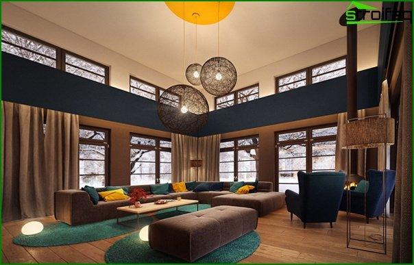 Living room in modern style (modern furniture) - 1