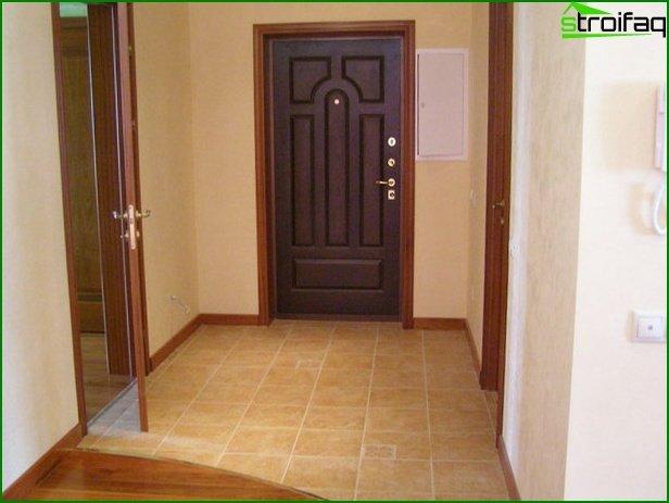 Tile on the floor in the hallway