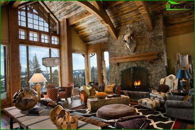 Chalet-style interior