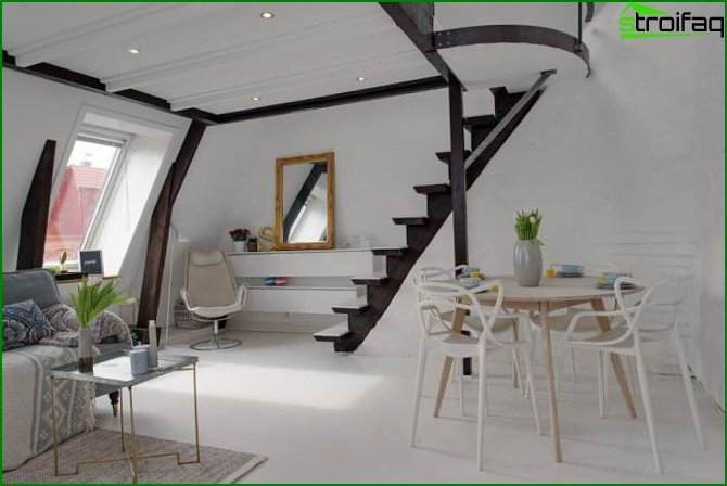 Stairs to the second floor in the loft