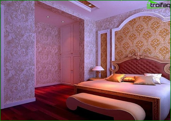 The combination of 2 types of wallpaper in the interior of the bedroom 2