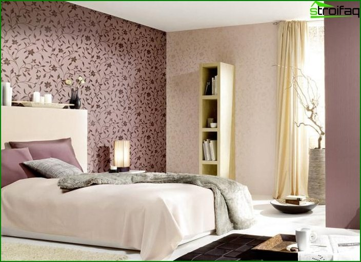 3 types of wallpaper in the interior of the bedroom 1