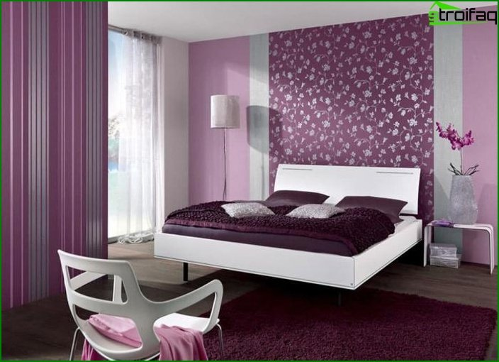 3 types of wallpaper in the interior of the bedroom 2