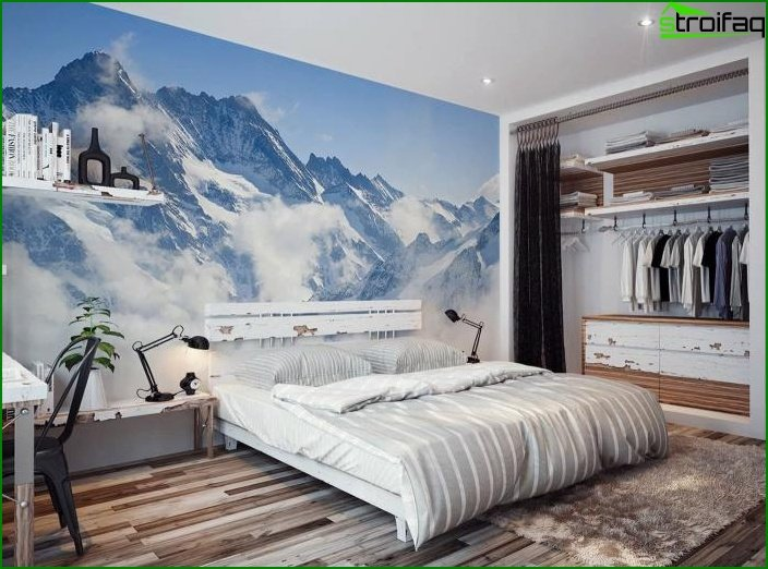 Photo wallpapers in the interior of the bedroom 6