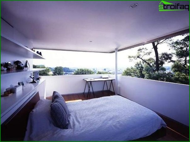 Features of the design of a small bedroom without windows 1