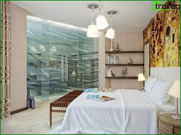 Features of the design of a small bedroom without windows 2