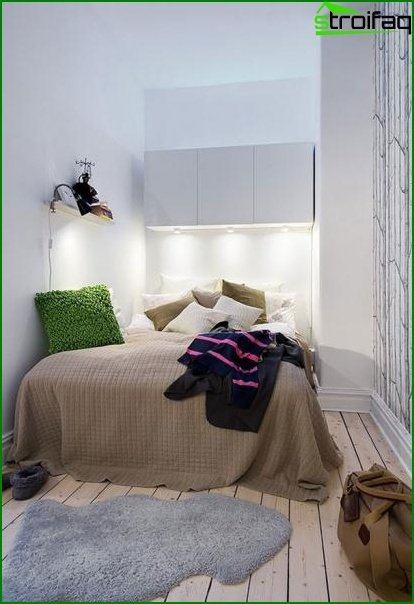Features of the design of a small bedroom without windows 3