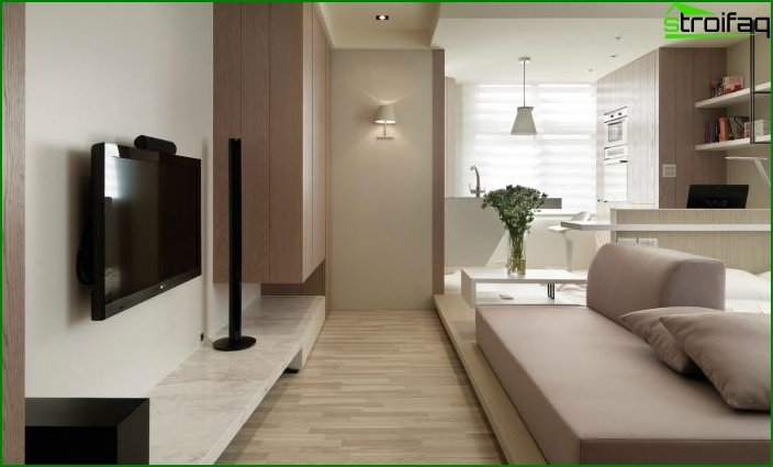 Design of one-room apartment 12