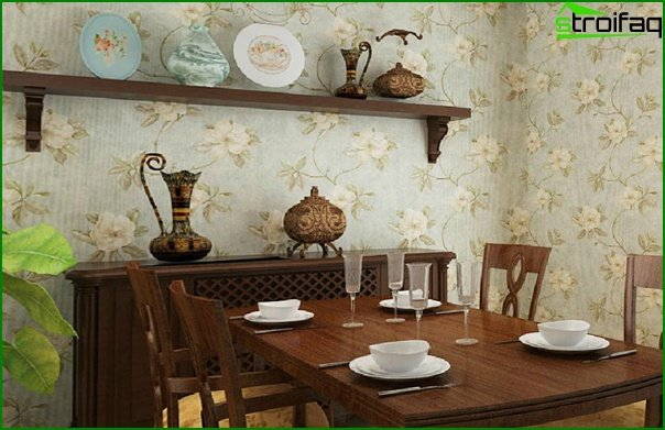 Non-woven wallpaper in the kitchen - 3