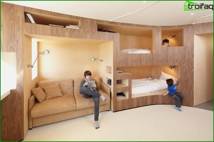 Design of a one-room apartment for a family with a child 1