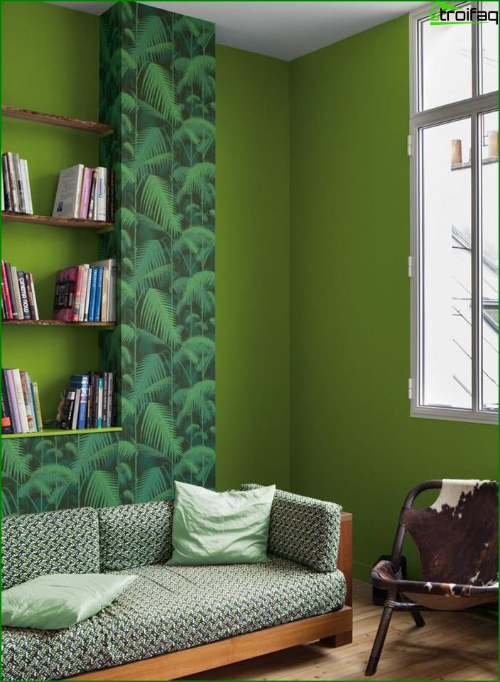 Shade of Greenery in the design of the living room - photo 2