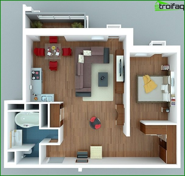 One-room apartment design project 5