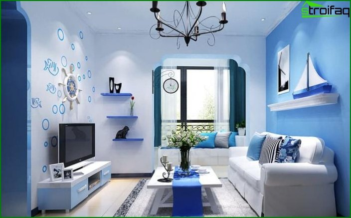 Shade of Air Blue in Living Room Design 1