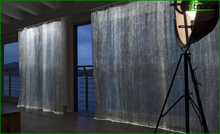 Luminous curtains in the interior 3