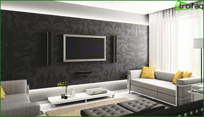Two-tone wallpaper in the interior 4