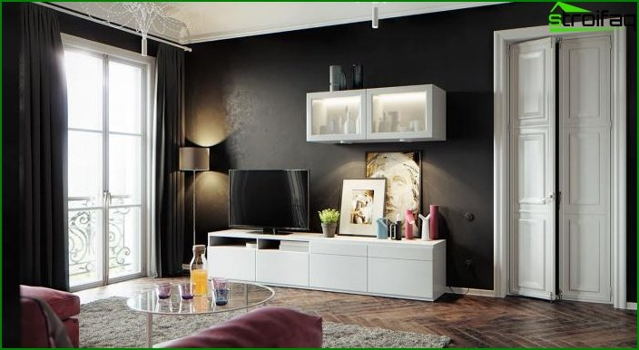 Black wallpapers in the interior 4