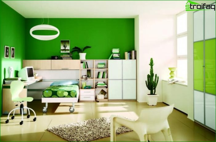 Green wallpaper in the bedroom