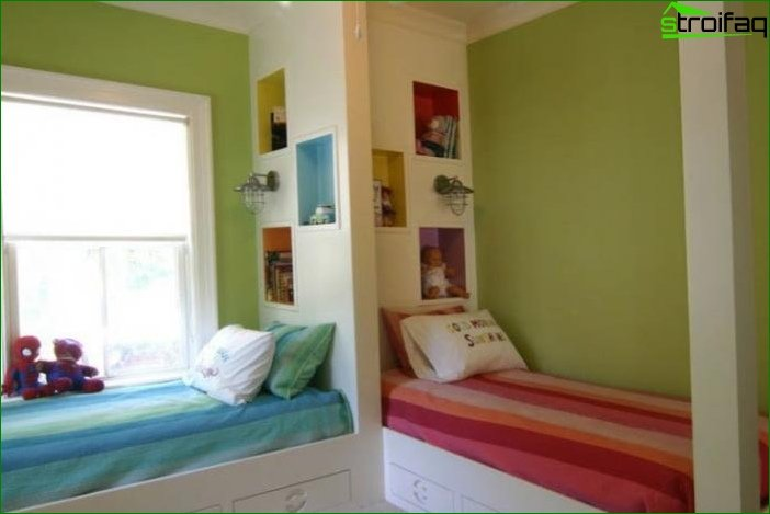 Zoning of the room by using various color schemes 15