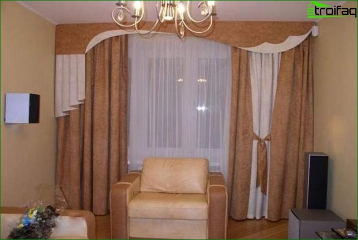 Photo curtains in the living room in classic style