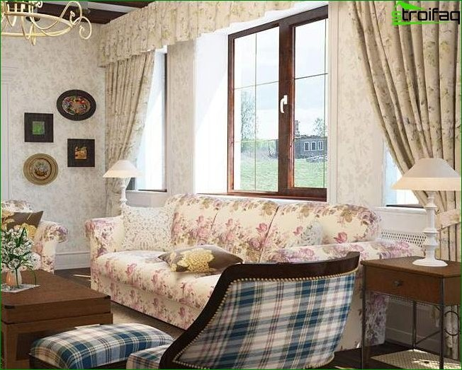 Photo curtains in the living room in the style of Provence