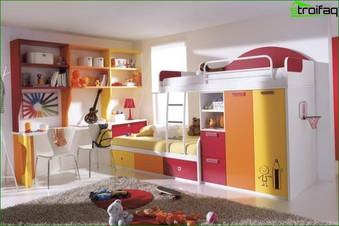 How to arrange a bed in a nursery for two children 2