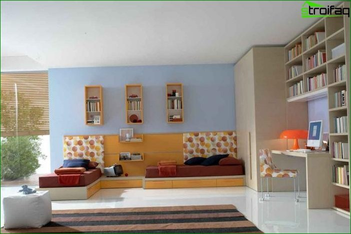 Zoning in the children's bedroom for two children