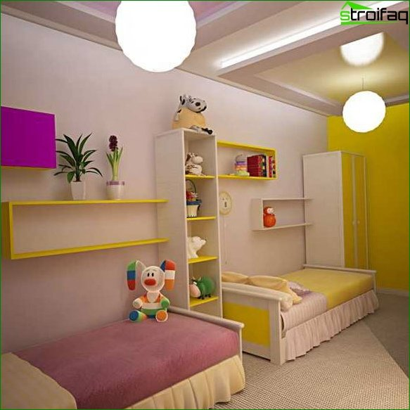 Interior of the room for children of different sexes