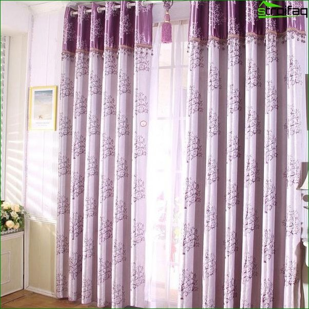 Violet curtains