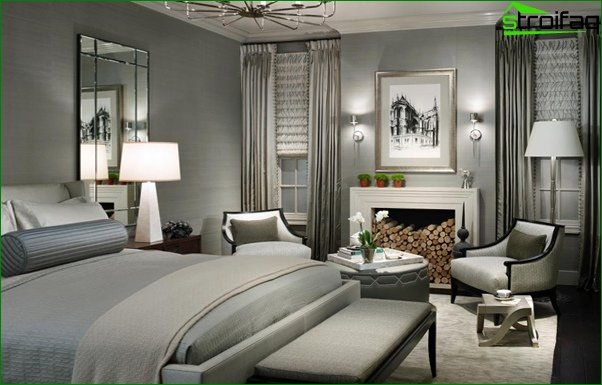 Trends 2017 in the design of the bedroom (neutral shades) - 2
