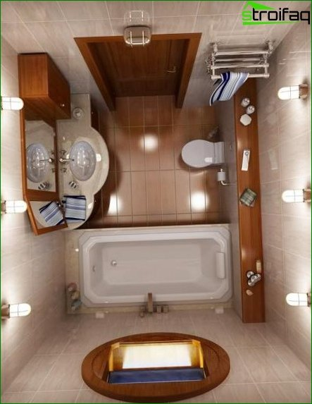 Interior design of a combined bathroom