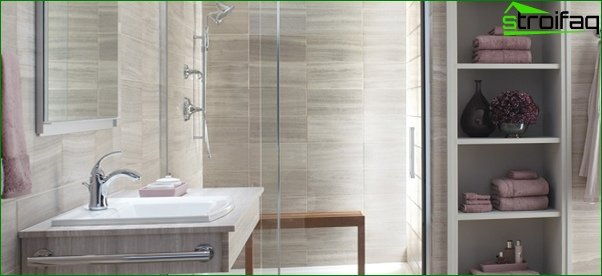 Decorating walls in the bathroom with tiles - 2