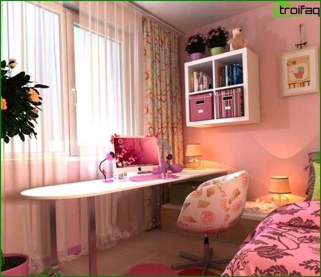 Design of a pink children's bedroom
