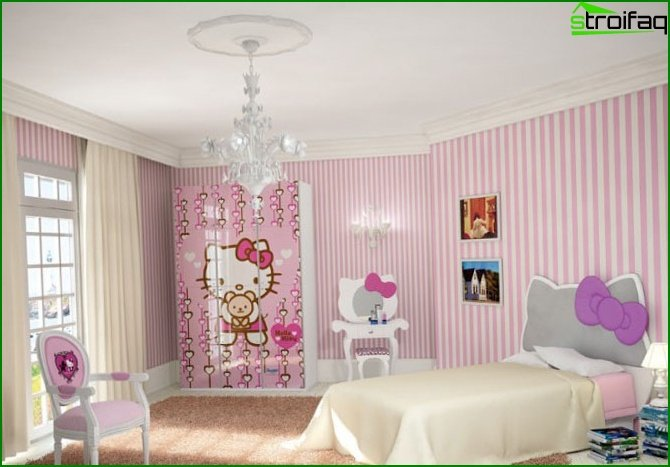Pink wallpaper in the nursery