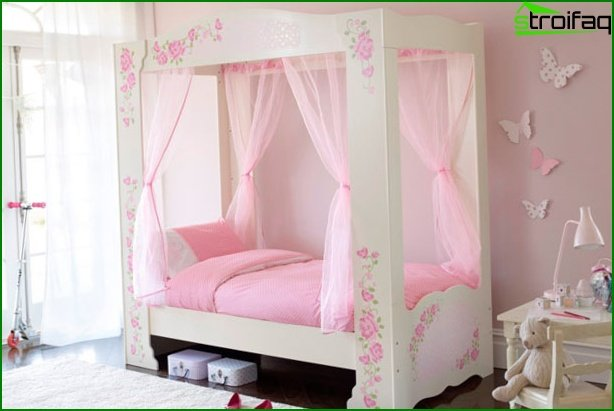 Pink children's bed