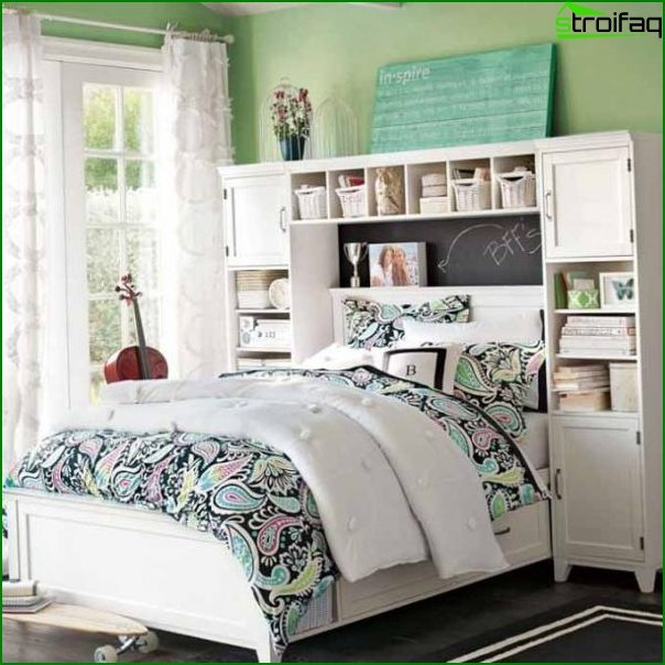 Green walls in the room