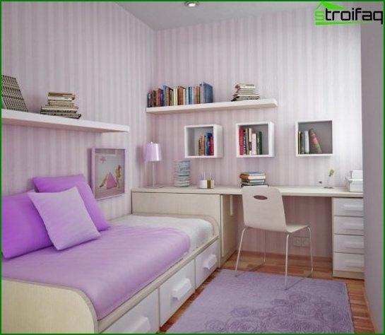 Storage area in the children's bedroom